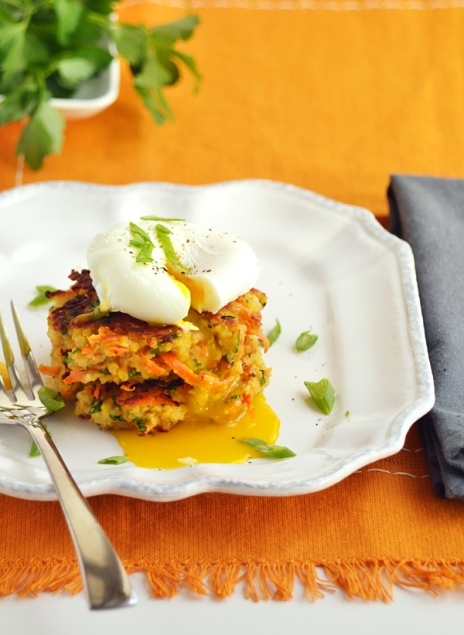 quinoa and garbanzo patties with poached egg